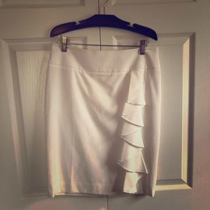 White Pencil Skirt with Ruffle